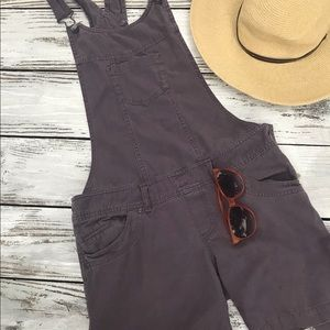 H & M Divided Distressed Brown Overall Shorts